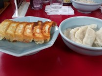 Two types of gyoza: fried and boiled.