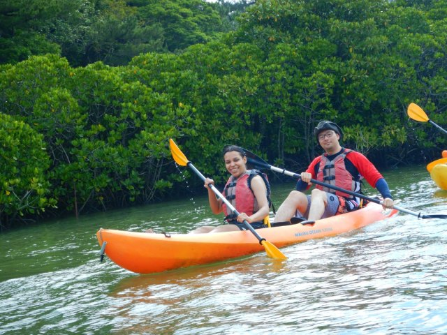 Kayaking Yanbaru Mangrove Okinawa - Paddling along the bank