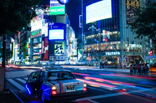 Taxi driver working late in Japan